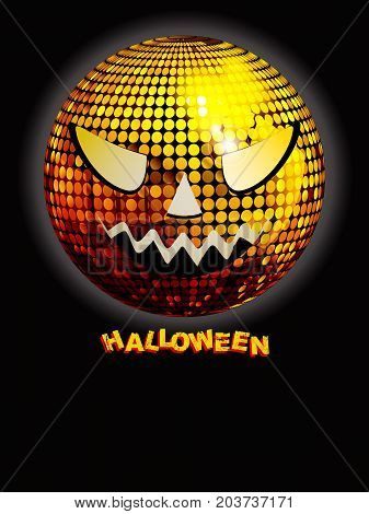 Halloween Black Poster with Golden Disco Ball with Scary Face and Decorative Text