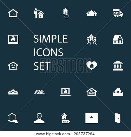 Elements Online Property, Residence, Real Estate Database And Other Synonyms Selection, Cargo And Pointer.  Vector Illustration Set Of Simple Property Icons.