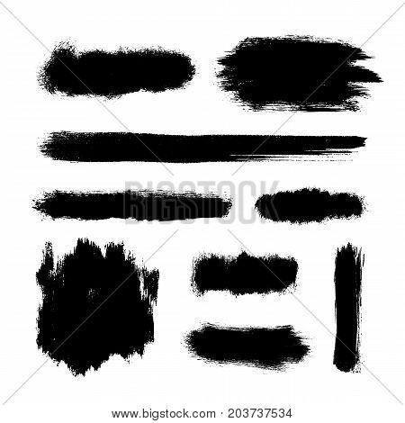Brush strokes set, black hand paint streaks, vector illustration