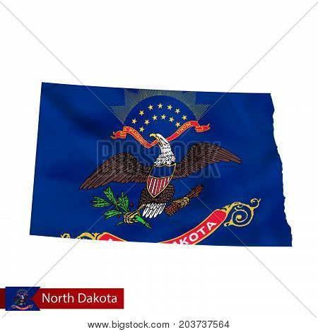 North Dakota State Map With Waving Flag Of Us State.