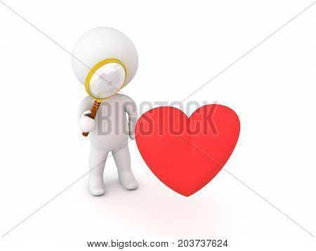 3D Character with a magnifying glass looking at a heart shape. Isolated on white.