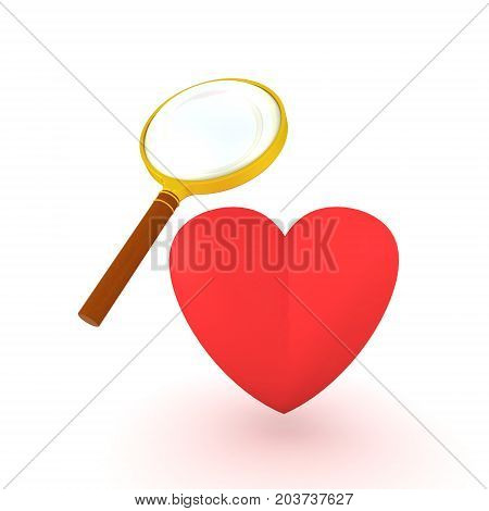 3D illustration of red heart shape put under a magnifying glass. Isolated on white.
