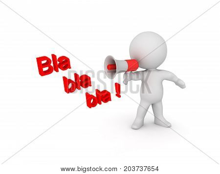 3D illustration depicting a person saying nonsense on loudspeaker. Isolated on white.
