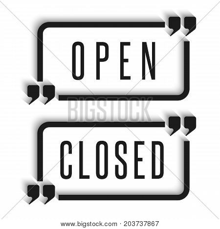 Signboard In The Door Are Open And Closed Information Signs For The Store Or Banner For The Site. Qu