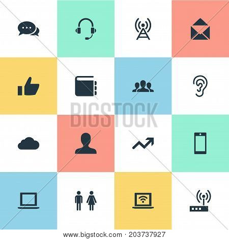 Elements Notebook, Member, Listen And Other Synonyms User, Ear And Tower.  Vector Illustration Set Of Simple Social Icons.