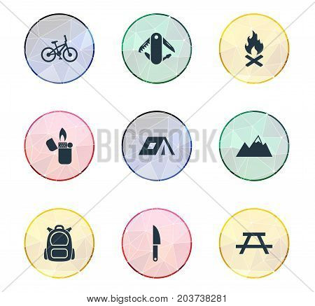 Elements Campfire, Rucksack, Bicycle And Other Synonyms Alps, Campfire And Canvas.  Vector Illustration Set Of Simple Outdoor Icons.