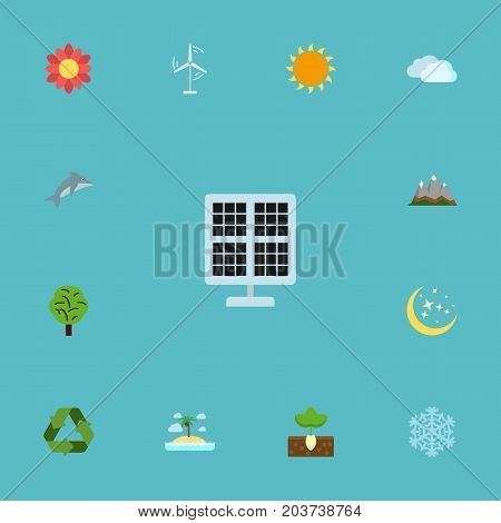 Flat Icons Electric Mill, Sunshine, Night And Other Vector Elements