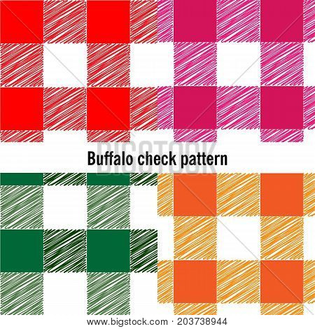 Seamless checkered vector pattern. Abstract geometric background. Vintage red plaid fabric texture. Buffalo check pattern