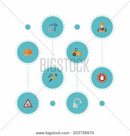 Flat Icons Steamroller, Stop Sign, Hoisting Machine And Other Vector Elements