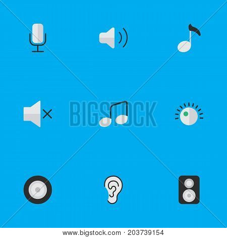 Elements Record, Volume, Regulator And Other Synonyms Sound, Microphone And Mic.  Vector Illustration Set Of Simple Music Icons.
