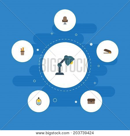 Flat Icons Identification, Suitcase, Armchair And Other Vector Elements