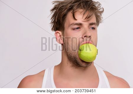 Guy With Busy Face Isolated On Light Grey Background