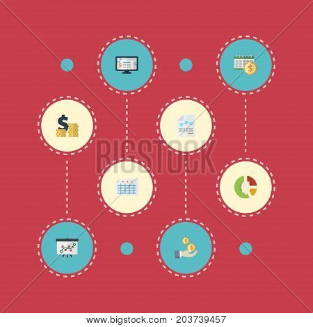 Flat Icons Paper, Stock, Deadline And Other Vector Elements