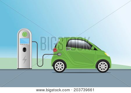 Electric Car Charging At Charger Service Station. Hybrid Vehicle, Eco Friendly Auto Or Electric Vehi