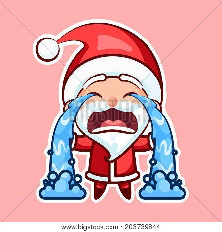 Sticker emoji emoticon, emotion sob, cry, weep, vector isolated illustration happy character sweet, cute Santa Claus, Father Frost pink background for Happy New Year and Merry Christmas mobile app