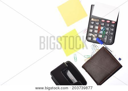 Business And Work Concept: Stationery And Wallet On White Background