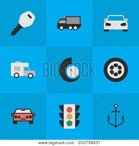 Elements Lorry, Van, Traffic Lights And Other Synonyms Van, View And Counter.  Vector Illustration Set Of Simple Traffic Icons.