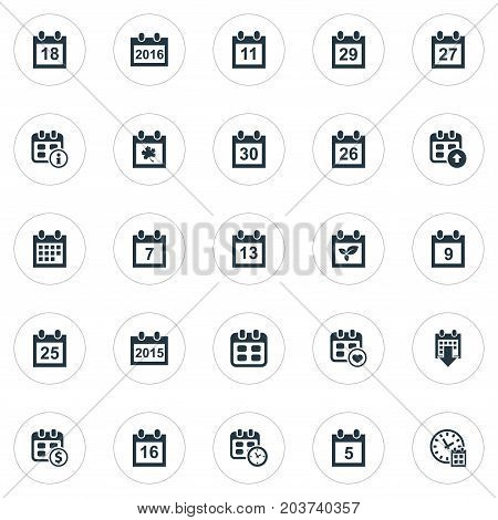 Elements 26, Nine, Event And Other Synonyms Thirtieth, Plant And Ninth.  Vector Illustration Set Of Simple Time Icons.