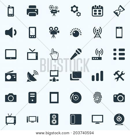 Elements Display, Processor, Vinyl And Other Synonyms Cursor, Cpu And Settings.  Vector Illustration Set Of Simple Hardware Icons.