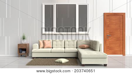 White room decorated with cream sofa, tree in glass vase, orange pillows, Blue book, Wood bedside table,Wood door, Window,Carpet,White cement wall it is pattern, white cement floor. 3d rendering.