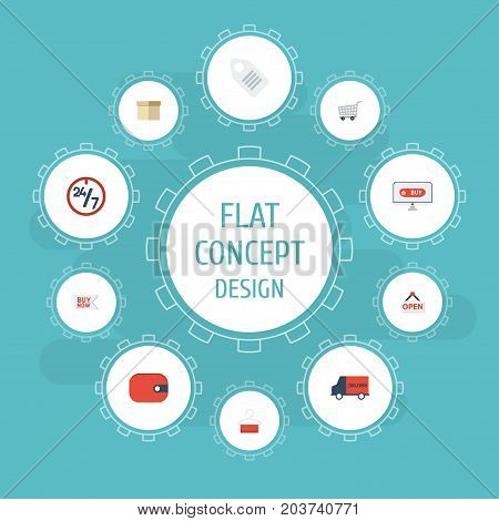 Flat Icons Case , Buy Now , Dress Stand Vector Elements