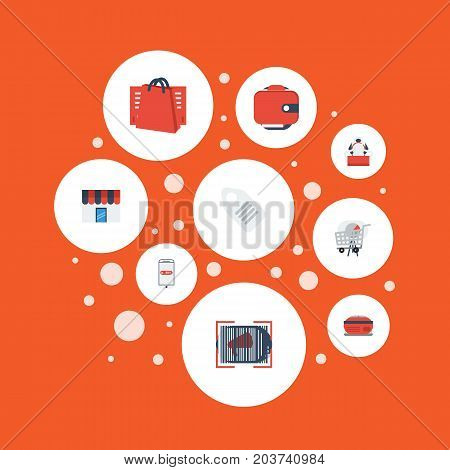 Flat Icons Dress Stand , Label , Purse Vector Elements