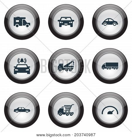 Elements Turtle Transport, Auto, Faucet And Other Synonyms Car, Signaling And Bell.  Vector Illustration Set Of Simple Automobile Icons.