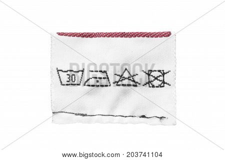 Washing instructions textile clothes label on white background
