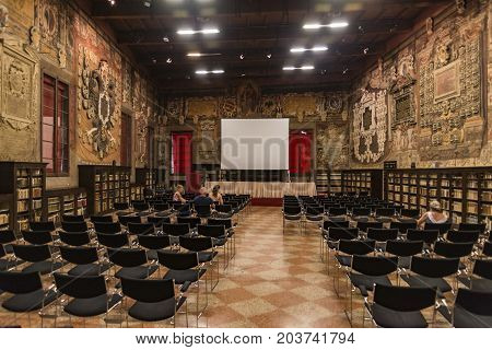 BOLOGNA - JUNE 25: Decorations on the wall and the hall in Archiginnasio library of Bologna. It is one of the most important building on June 25 2017 in Bologna Italy.