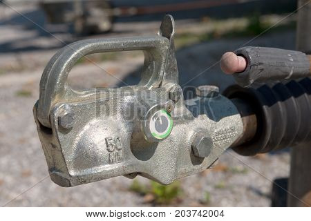 A close-up of trailer hook for boats or cars