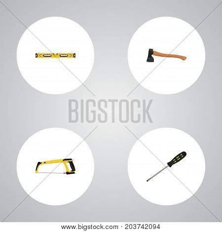 Realistic Plumb Ruler, Arm-Saw, Hatchet And Other Vector Elements
