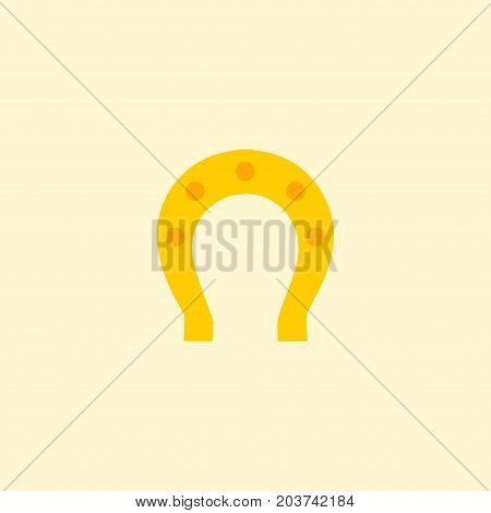 Flat Icon Horseshoe Element. Vector Illustration Of Flat Icon Talisman Isolated On Clean Background