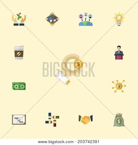 Flat Icons Agreement, Businessman, Cash And Other Vector Elements