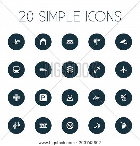 Elements Autobus, School, Airplane And Other Synonyms Taxi, Auto And Parking.  Vector Illustration Set Of Simple Architecture Icons.