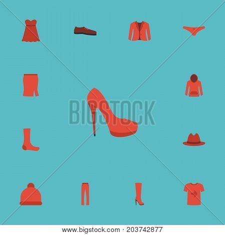 Flat Icons Casual, Hosiery, Evening Dress And Other Vector Elements