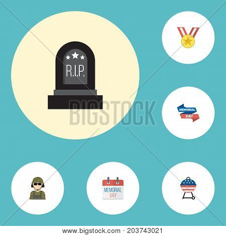 Flat Icons Military Man, Tomb, Medallion And Other Vector Elements