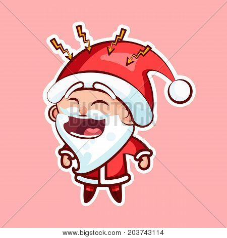 Sticker emoji emoticon emotion, scream with rage, lightning vector isolated illustration character sweet cute Santa Claus Father Frost pink background for Happy New Year and Merry Christmas mobile app
