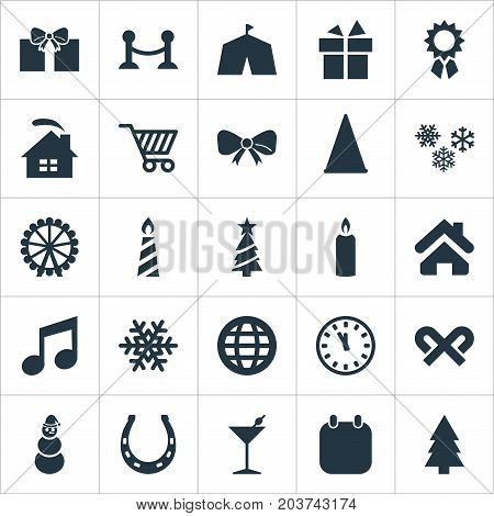 Elements Cottage, Musical Note, Date Block And Other Synonyms Shopping, Snowman And Wax.  Vector Illustration Set Of Simple Christmas Icons.