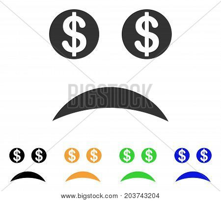 Bankrupt Smile icon. Vector illustration style is a flat iconic bankrupt smile symbol with black, gray, green, blue, yellow color variants. Designed for web and software interfaces.