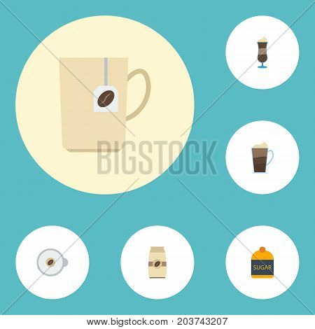 Flat Icons Cappuccino, Sweetener, Seed Pack And Other Vector Elements