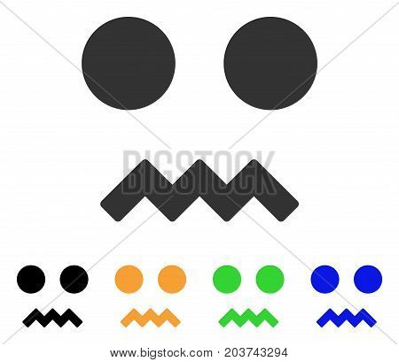Fright Smile icon. Vector illustration style is a flat iconic fright smile symbol with black, gray, green, blue, yellow color variants. Designed for web and software interfaces.