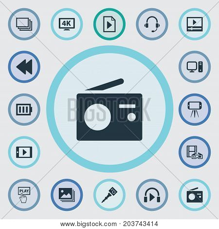 Elements Charge, Music Listening, PC And Other Synonyms Personal, Earmuff And Charge.  Vector Illustration Set Of Simple  Icons.