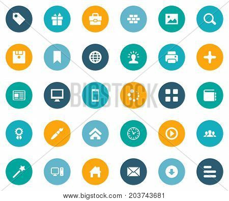 Elements Diskette, Message, World And Other Synonyms Flag, Loading And Layering.  Vector Illustration Set Of Simple Design Icons.