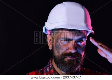 Labour And Heavy Industry Concept. Guy With Brutal Image