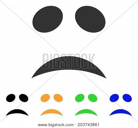Sad Emotion Smile icon. Vector illustration style is a flat iconic sad emotion smile symbol with black, grey, green, blue, yellow color variants. Designed for web and software interfaces.