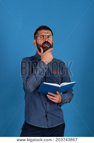Professor With Thinking Face. Textbook In Blue Color