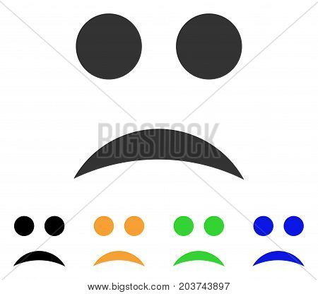 Sad Smile icon. Vector illustration style is a flat iconic sad smile symbol with black, gray, green, blue, yellow color variants. Designed for web and software interfaces.