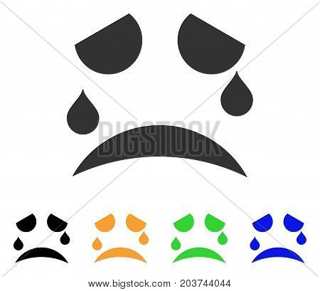 Tears Smile icon. Vector illustration style is a flat iconic tears smile symbol with black, grey, green, blue, yellow color versions. Designed for web and software interfaces.