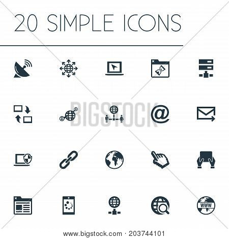 Elements Loading, Communication, Network Sharing And Other Synonyms Envelope, Search And Spreading.  Vector Illustration Set Of Simple Web Icons.