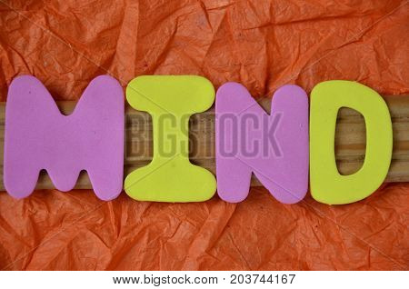 WORD MIND ON A  ABSTRACT RED BACKGROUND